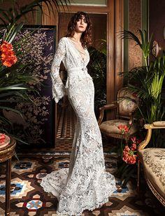 CANAMO, YolanCris, boho, bohemian, bride, dress, folk, 70's, style, new collection, wedding gowns, wedding dress, made in Barcelona,  boho folk, bohemian, beach, long sleeve, guipure, high quality, mermaid silhouette