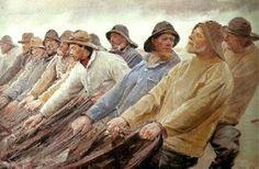 Michael Peter Ancher (1849-1927): Fiskere trækker vod ved Skagen