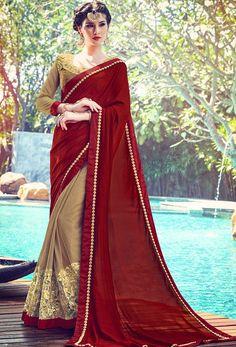 Designer #Maroon And #Beige #Net Half N #Half #Sari #nikvik  #usa #designer #australia #canada #freeshipping #fashion #dress #sarees #sale