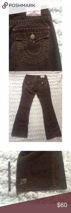 True Religion Corduroy Flare Bells in Brown Super cute, super flared bells. There is one square hole as pictured. These are in good pre loved condition! Feel free to ask any questions or make an offer. Last photos are for outfit inspiration. Inseam is 33 inches. $30.00 on Merc. True Religion Pants Boot Cut & Flare