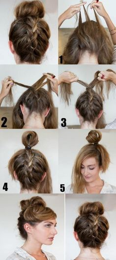 How to do a French braid bun. This would be great for at work!!!!!
