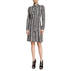 Michael Kors Houndstooth-Print Silk Georgette Shirtdress ($538) ❤ liked on Polyvore featuring dresses, grey, women's apparel dresses, long sleeve dresses, grey t-shirt dresses, michael kors dresses, gray t-shirt dresses and a line dress