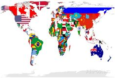Map Of World With Flags In Relevant Countries, Isolated On White Background Poster