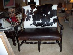 cowhide furniture - part of the reading nook...