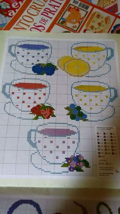 Cups xstitch with fruit This Pin was discovered by esr Cross Stitching, Cross Stitch Embroidery, Cross Stitch Designs, Cross Stitch Patterns, Hand Embroidery Videos, Cross Stitch Kitchen, Cross Stitch Heart, Needlepoint, Sewing Crafts