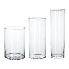 IKEA - ЦИЛИНДР, Набор ваз,3 штуки, Штабелируются, экономя место при хранении.Тип стекла: боросиликатное стекло.