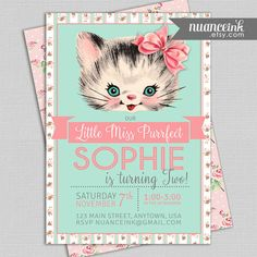 Little Miss Purrfect Vintage Kitten Birthday Party Invitations Printed or Digital Copy 24 Hr Turnaround! Kitty Cat and like OMG! get some yourself some pawtastic adorable cat shirts, cat socks, and other cat apparel by tapping the pin! Cat Themed Parties, Puppy Birthday Parties, Fourth Birthday, Cat Birthday, Birthday Ideas, Kitten Party, Cat Party, Dogs Party, Party Fiesta