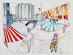 www.artunika.dk / www.artunika.com Barcelona - 50 x 65. En original illustration af Marianne Stenberg. Illustrationen kommer ikke indrammet.  Stenberg er kendt for hendes store tegninger hvor der fuldstændig åbnes op for de hallucinerende sluser og hvor stregen løber løbsk i et gennemtæn...