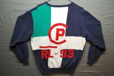 VTG Polo Ralph Lauren RL 92 93 Sweatshirt SEWN Mens M Stadium USA Bear Wing 1993