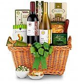 Vineyard Select Wine Basket: Wine Baskets - A best-selling basket filled with California wine and gourmet treats.