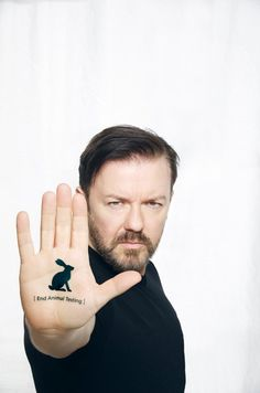 "I think he's funny.  Plus...Ricky Gervais on why he wants the sale of animal-tested cosmetics banned: ""It would be nice if companies would stop animal testing just because it's the right thing to do. But in reality, for as long as they can sell their products, they're unlikely to change."""
