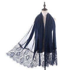 RiscaWin Lady New Fashion Contracted Style Both Ends Floral Lace Soft Scarf Shawl Navy >>> Details can be found at