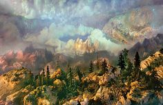 Landscapes created in 200-gallon tanks of water by artist Kim Keever
