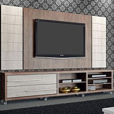 Rack Arezzo com Painel para TV Zeus Champagne/Coffe - Fiasini Wall Unit, Lcd Panel Design, House Design, Wall Mounted Tv, Living Room Tv Unit Designs, Livingroom Layout, Tv Wall Decor, Tv Wall, Modern Tv Wall Units
