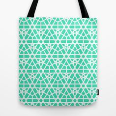 Moroccan Stars in Teal Tote Bag by House of Jennifer - $22.00 #pattern#textile #design #arabic #moroccan #green #aqua #lattice