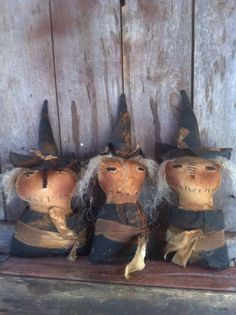 Primitive Wicked Ol Witch Sister Cupboard Dolls Tucks sitters Grungy extreme #NaivePrimitive