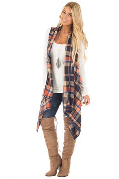 Lime Lush Boutique - Navy and Rust Plaid Draped Knit Vest, $48.99 (https://www.limelush.com/navy-and-rust-plaid-draped-knit-vest/)