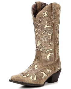 "Women's Sharona 12"" Crackle Sanded Goat with Bone Tool Print Underlay Boot - Tan"