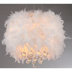 Iglesias Fluffy White Feathers and Crystal 3-light Pendant - Overstock™ Shopping - Great Deals on Warehouse of Tiffany Chandeliers & Pendants