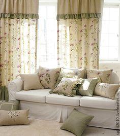 Текстиль, ковры ручной работы. Шторы льняные с оборками