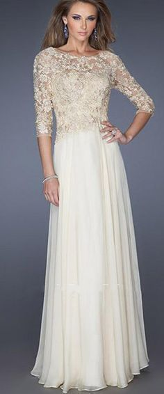 f24e74b80d 3 4 Length Sleeves Long Chiffon Lace Mother of The Bride Dresses Mother Of  The
