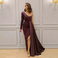 Elegant Burgundy Arabic Dresses Evening Wear One Shoulder Appliques Split Side Formal Dress Sleeves Floor Length Long Prom Gowns Evening Dresses 2011 Dresses Evening Dresses From Weddingteam, $133.87| Dhgate.Com