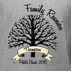Clean Design Family Reunion t-shirt template. If you're looking for a simple and elegant family reunion memento, get a custom t-shirt! Edit this design to add your family name, event location and dates in our online t-shirt design studio. Order just a few on our no minimum required products or if you've got a large family, get great bulk discounts for screen print!