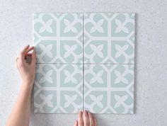 Palm Beach Sage Green Encaustic Look Tile Bathroom Floor Tiles, Laundry In Bathroom, Tile Floor, Wall Tiles, Encaustic Tile, Bathroom Trends, Bathroom Interior, Bathroom Ideas, Beach Bathrooms