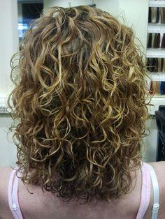big curls, highlights, medium length