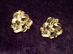 Wonderful Lisner Earrings With Silver Tone Backing,  leaves and Clear Rhinestones.
