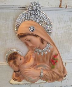 vtg-MaDonnA-wall-religious-Plaque-MARY-Chalkware-Plaster-RHINESTONE-jewelry-lot