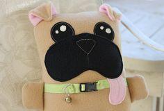 Pugsley the Pug Plush Toy Dog soft toys by PonkiAndJeani on Etsy, $35.00