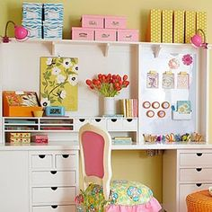 Malu Boutiques: Inspirational Wednesday (Small craft room/organiztion ideas). Love the chair for a desk in E's room someday!