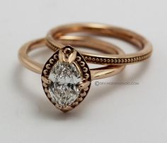 Hand Made Engagement Ring Marquise Diamond Rose Gold by Devlin Design Studio | CustomMade.com
