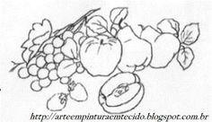 Risco Pintura Em Tecido Pano de Prato Frutas