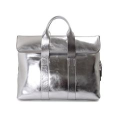 3.1 Phillip Lim Exclusive - 31 Hour Metallic Leather Shopping Bag (1 662 AUD) ❤ liked on Polyvore featuring bags, handbags, silver, metallic handbags, top handle purse, top handle leather handbags, leather tote shopper and genuine leather purse
