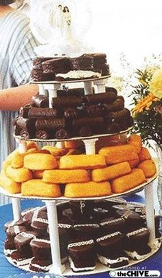 Redneck Wedding :) Ha! They'd have to be Little Debbie snackcakes....