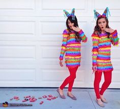 Alyssa: My friend Amanda and I wanted to make our 2013 costume colorful and creative, and we came up with the perfect costume idea - PINATAS! We looked up a tutorial...