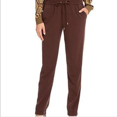 """Michael Kors chocolate track pants New with tags. Color: chocolate. Drawstring waist. Inseam: 30"""".  Stretchy. Polyester, viscose, elastane Michael Kors Pants Track Pants & Joggers"""