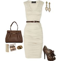 Loving Ivory and brown together this Fall/Winter. What a pretty and elegant outfit, and the classic dress can go with anything.
