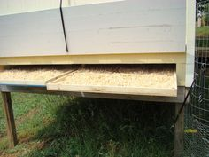 Removable trays for easy cleaning of the chicken coop.