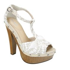 Love the crochet lace details of this t-strap pump sandal! TRACY by LIMELIGHT