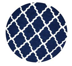Amazon.com - nuLOOM MTVS27D Varanas Collection Marrakech Trellis Contemporary Transitional Hand Made Area Rug, 6-Feet Round, Navy Blue -