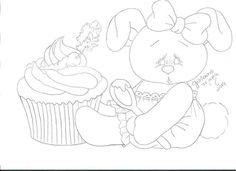 Coelhinha sentada com cupcake