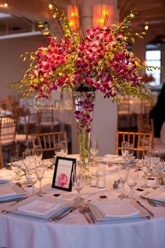 Tribeca Rooftop Wedding by Carmen Santorelli Photography Feather Centerpieces, Table Centerpieces, Wedding Centerpieces, Wedding Decorations, Centerpiece Ideas, Our Wedding, Dream Wedding, Wedding Stuff, Orchid Arrangements