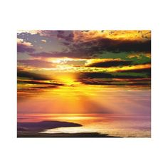 Summertime Stretched Canvas Prints. Digital Art By Peter Chassé  Spectacular evening sky sunset afterglow over ocean.  Perfect for your home, office, family rooms, waiting rooms, restaurant walls and many other locations. #summer #sunsets #sky #light #beauty #sun #digital #sunlight #sunbeam #climate #tropical #orange #imagery #red #yellow #travel #canvas #print