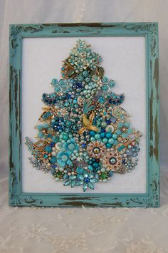 vintage jewelry framed Christmas tree * all aqua jewels, gems & glam in Collectibles, Holiday & Seasonal, Christmas: Modern Jeweled Christmas Trees, Christmas Tree Art, Christmas Jewelry, Vintage Christmas, Christmas Ornaments, Blue Christmas, Xmas, Costume Jewelry Crafts, Vintage Jewelry Crafts