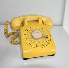 Vintage Yellow Rotary Telephone 1970s Bell System by CardinalCache, $39.50
