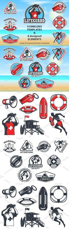 Set of lifeguard emblems. Water Infographic