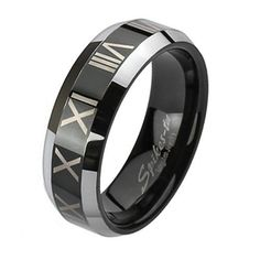 8MM Black Plated Tungsten Ring with Roman Numerals and Beveled Edges Crazy2Shop. $15.00. Stone Type: No Stones. Metal:Tungsten. Finish:Black Color Plating. Features:Black Plated Center with Roman Numerals and Beveled Edges. Width: 8mm